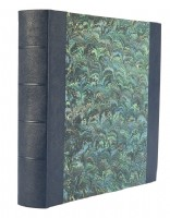 Ann Muir Hand-Marbled with Deep Sea Blue Leather Photograph Album